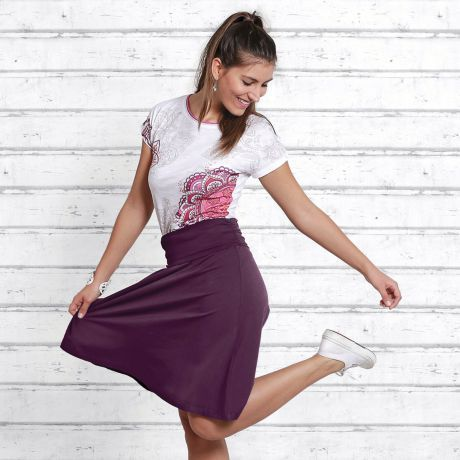 Rock, T-Shirt, lila, aubergine, Frau, Skirt, t-shirt, purple, woman