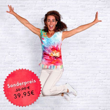 Bluse, Aquarell, Frau, lächeln, springen, Freude, Bio-Baumwolle, Blume, Blouse, watercolor, woman, smile, jump, joy, organic cotton, flower, Happiness