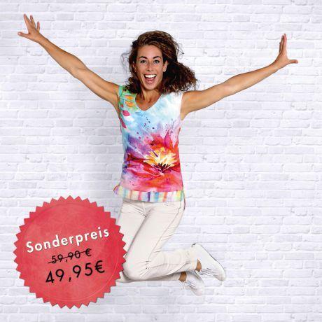 Bluse, Aquarell, Frau, lächeln, springen, Freude, Bio-Baumwolle, Blume, Blouse, watercolor, woman, smile, jump, joy, organic cotton, flower, Happiness