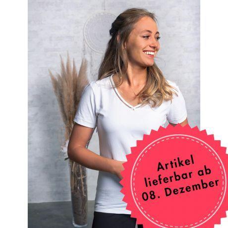 Shirt Silbergarn Kurzarm V-Neck
