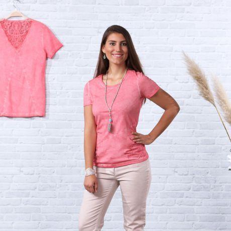 Spitzenshirt flamingo