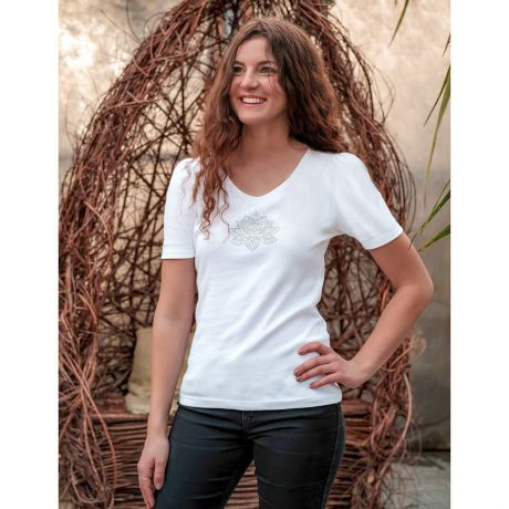 T-Shirt, weiß, Bio-Baumwollfe, Raffärmel, Puffärmel, Lotus, Silber, Gold, Frau, Lächeln, white, organic cotton, ruffle sleeves, puff sleeves, lotus, silver, gold, woman, smile,