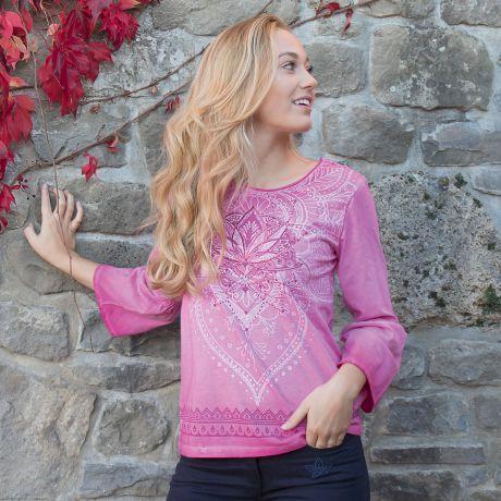Shirt, Lotus, Mandala, Bio-Baumwolle, pink, organic
