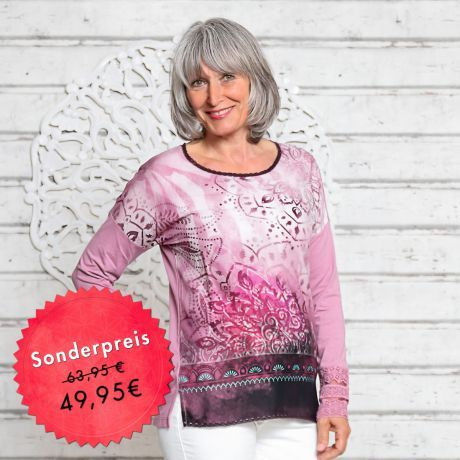 Shirt, lila, Mandala, Bio-Baumwolle,