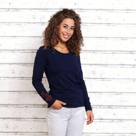 Shirt, Pullover, dunkelblau, Stick Blume, Frau, sweater, dark blue, stick flower, woman,