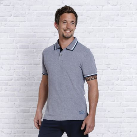 Polo-Shirt dunkelblau-weiß-melange