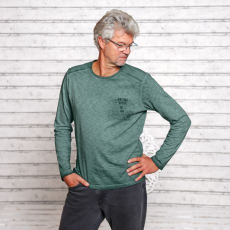 Langarmshirt, grün, smaragd, Herren, Bio-Baumwolle, Bio-Kleidung, Long sleeve shirt, green, emerald, men, organic cotton, organic clothing,