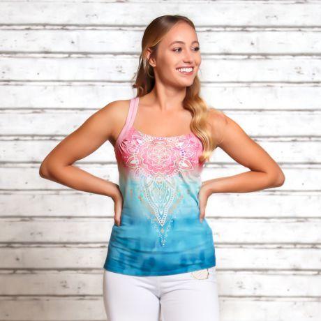 Yoga Top, Mandala, rosa, hellblau, indigo, peach, Bio, nachhaltig, Rosenquarz, organic cotton, sustainable, rose quartz