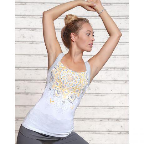 Yoga Top, Mandala, weiß, Bio-Baumwolle, nachhaltig, Rosenquarz organic cotton, sustainable, rose quartz, Frau