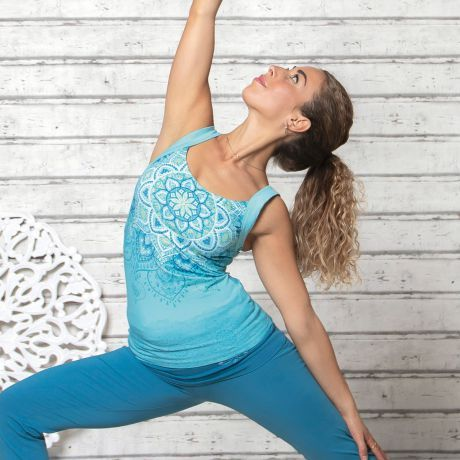 Yoga, Top, Mandala, Frau, blau, woman, blue, Bio, Bio-Baumwolle, Organic, Organic Cotton