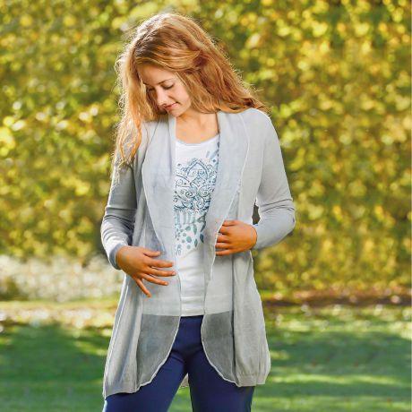 Strickjacke, silber, Seide, Bio-Baumwolle, Bio-Kleidung, Cardigan, silver, silk, organic cotton, organic clothing