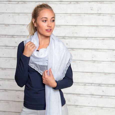 Schal aus Bio-Baumwolle mit Spitzentüll weiß