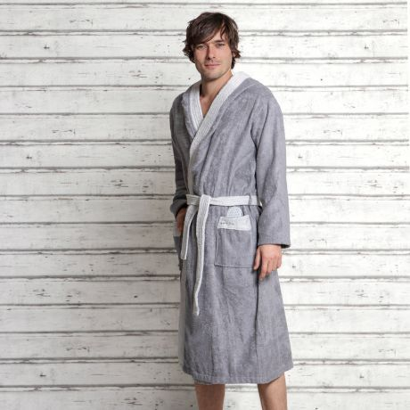 Bademantel, grau, hellgrau, Blume des Lebens, Herren, Bio-Baumwolle, Frottee, Bathrobe, gray, light gray, flower of life, men, organic cotton, terry cloth,