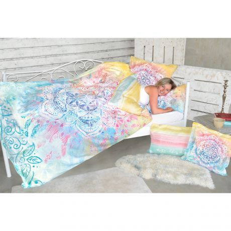 Bettwäsche, Mandala, Bunt, Aquarell, Federn, pastell, Frau, schlafen, Bio-Baumwolle, Bedding, mandala, colorful, watercolor, feathers, pastel, woman, sleep, organic cotton,