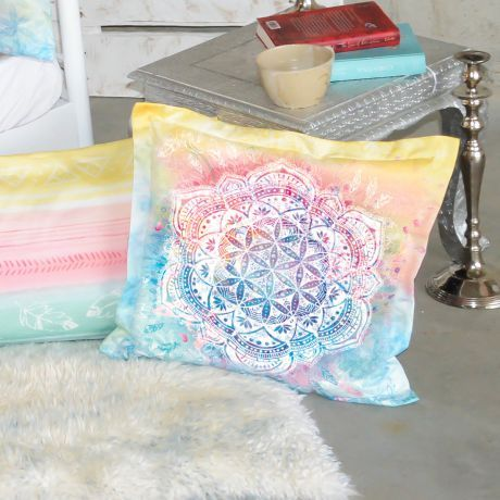 Kissen, Bunt, Mandala, Blume des Lebens, Bio-Baumwolle, Pillow, colorful, mandala, flower of life, organic cotton,