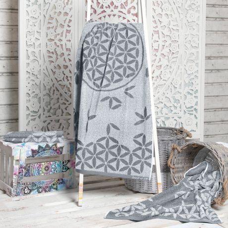 Handtuch, Frottee, grau, Bio-Baumwolle, Blume des Lebens, Towel, terrycloth, gray, organic cotton, flower of life