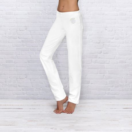 Wellnesshose, Sport, Damen, Herren, weiß, Stickerei, Wellness pants, sport, women, men, white, embroidery,