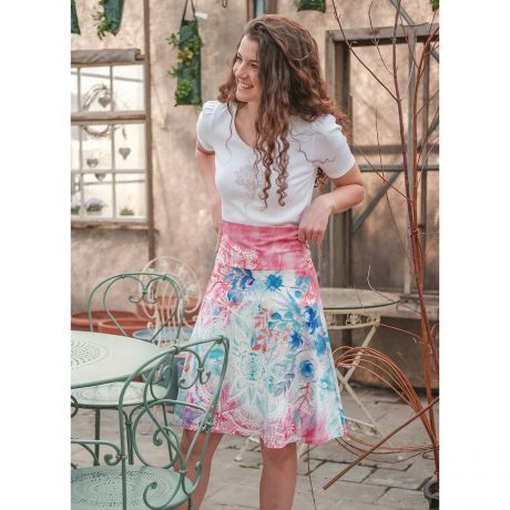 Rock, pink, blau, bunt, T-Shirt, weiß, Frau, Aquarell, Lotus, Lächeln, Mandala, Skirt, pink, blue, colorful, t shirt, white, woman, watercolor, smile,