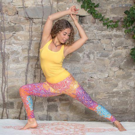 Legging, bunt, regenbogen, Top, gelb, Yoga, Frau, woman, yellow, rainbow, colored