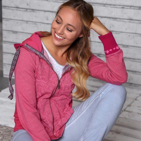 Sweatjacke, Mandala, Bio-Baumwolle, pink, Frau Jeans, Sweat jacket, mandala, organic cotton, pink, woman jeans,