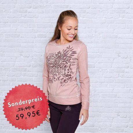 Pullover, rosa, rosenholz, namasté, Lotus, Aufdruck, Bio-Baumwolle, Bio-Kleidung, Sweater, namasté, lotus, imprint, organic cotton, organic clothing,