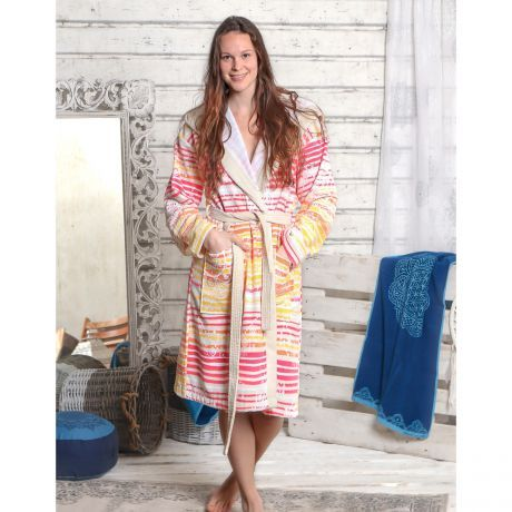 Bademantel, bunt, Streifen, Bio-Baumwolle, Frau, Handtuch, blau, Bathrobe, colorful, stripes, organic cotton, woman, towel, blue,