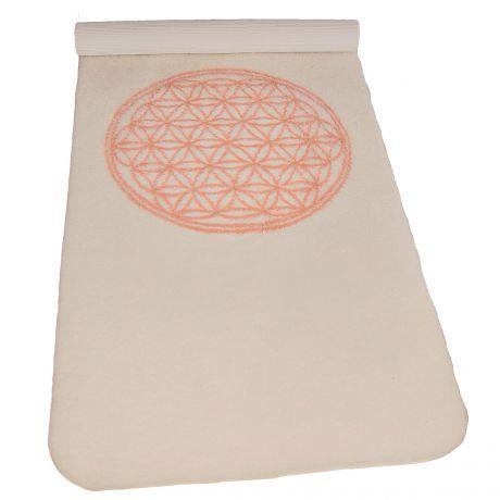 Yogamatte aus Schurwolle mit Blume des Lebens