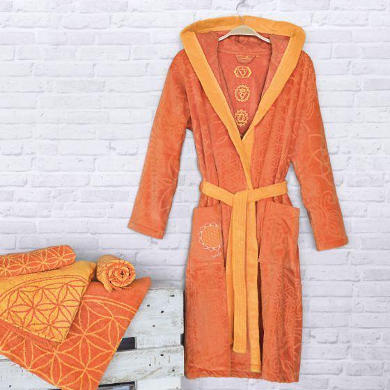 heißes Produkt verschiedene Arten von Shop für authentische Bio-Baumwoll Bademantel Velour sonnengruß The Spirit of OM