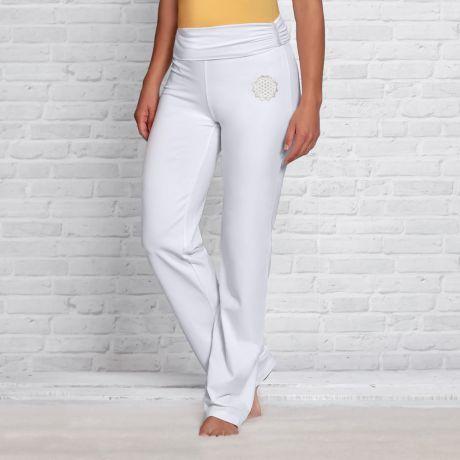 Yogahose mit Umschlagbund weiß