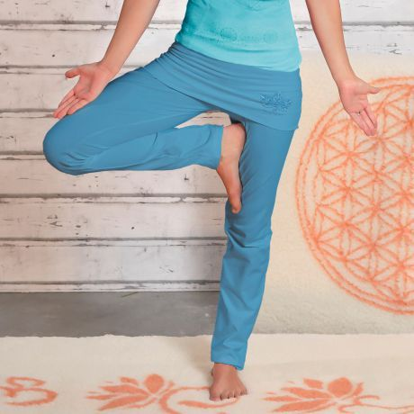Yogahose mit breitem Rock-Bund aloha-blau