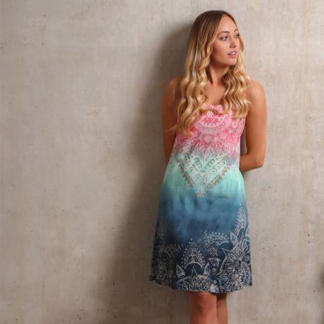 Sommerkleid indigo/peach