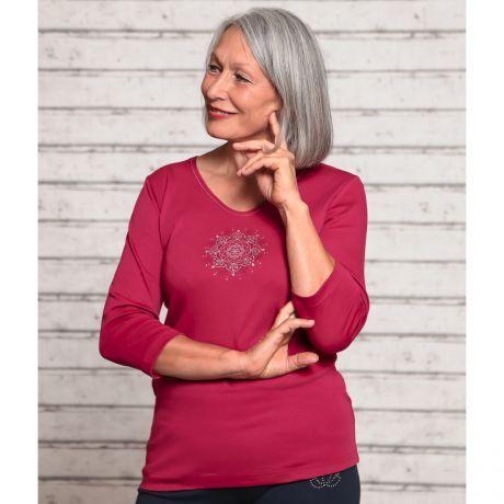 3/4 Arm Shirt rosenrot 'Flower of Harmony'