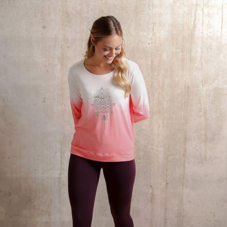 Langarm-Shirt 'Shakti' flamingo/weiß