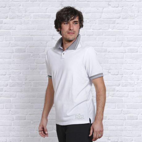 Polo-Shirt weiß-hellgrau
