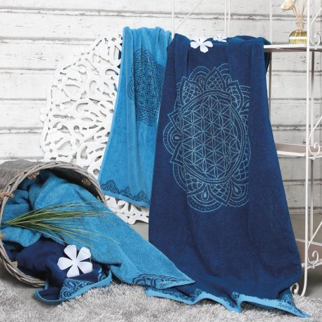 Frotteetücher Happy Flower of Life ozeanblau/azur