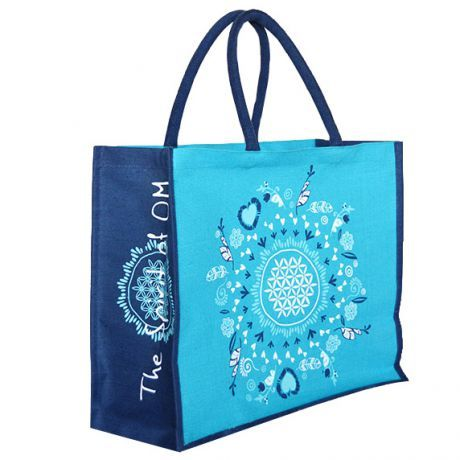 Jute-Tasche türkis-blau