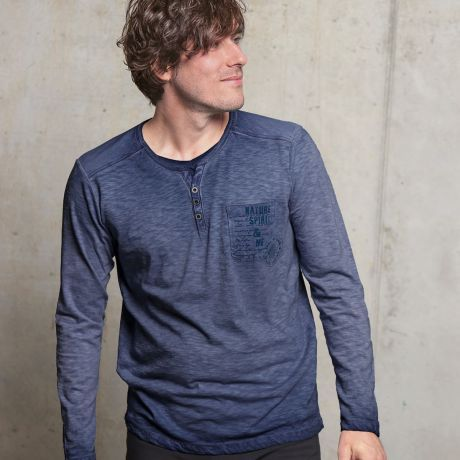 Langarmshirt 'Nature Spirit' jeansblau