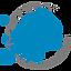 Icon für Herstellung, Umrisse von Europa in blau im Kreis