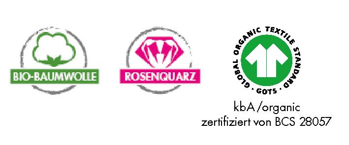 Icon für Bio-Baumwolle, grüne Baumwollknospe, Icon für Rosenquarz, pinker Edelstein, Icon GOTs Zertifizierung, T-Shirt grün auf weiß